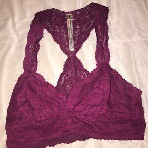 free people intimately lace maroon bralette